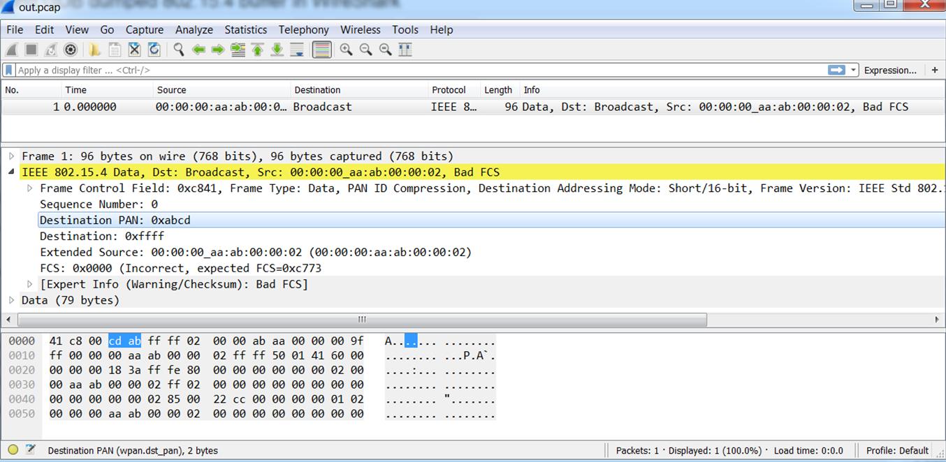 Displaying GDB dumped 802 15 4 buffer in WireShark | Phalox be