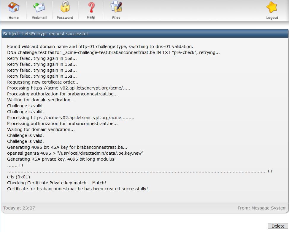 DirectAdmin Let's encrypt output log