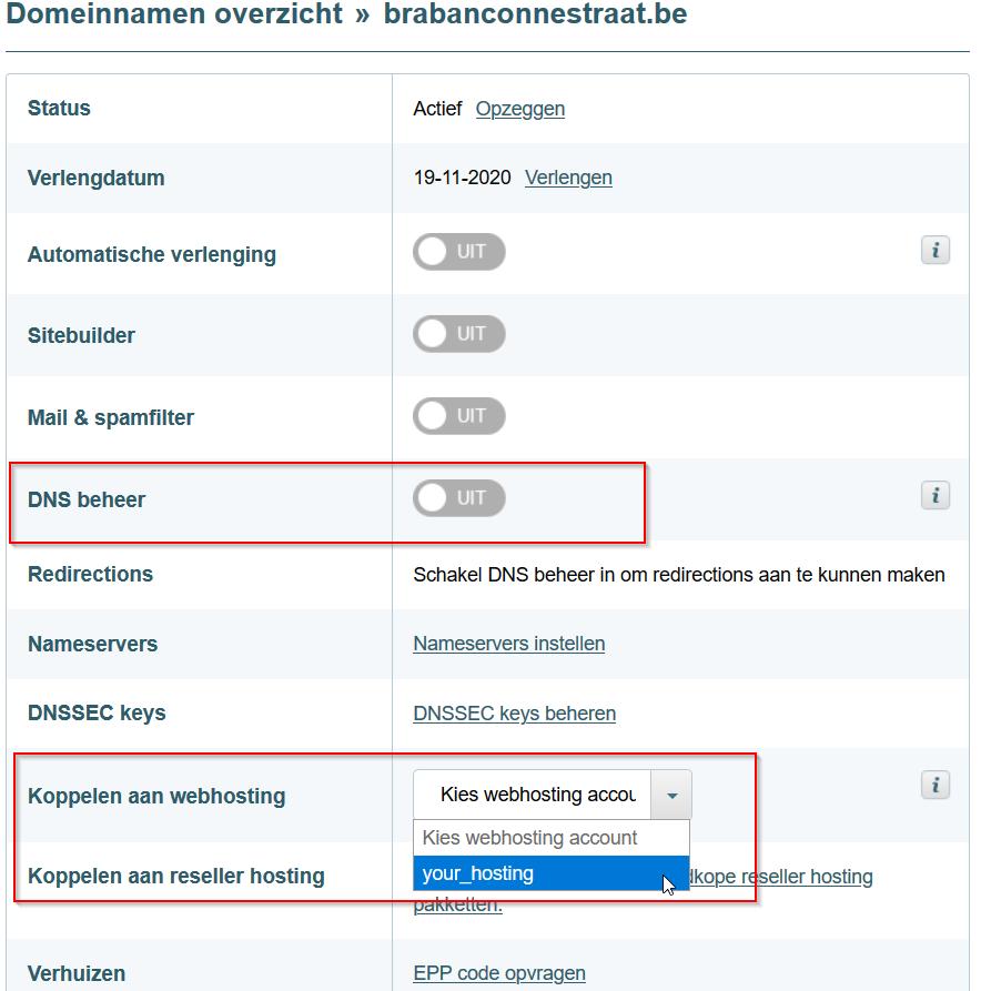 Website settings overzicht