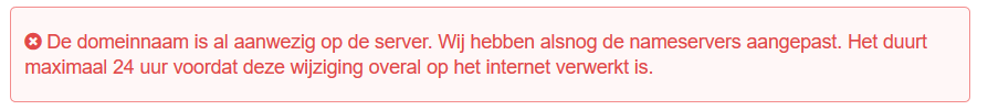 Error melding van Versio wanneer je koppelt aan webhosting