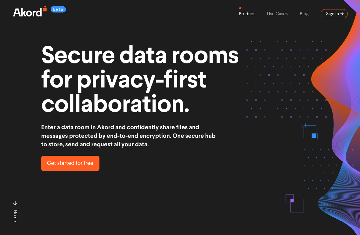 The Akord homepage about their Secure data rooms for privacy-first collaboration offer